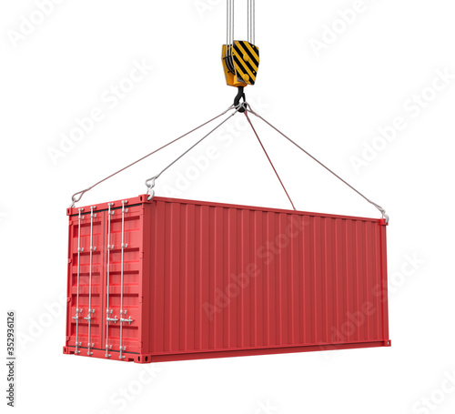 Obraz na plátně 3d rendering of closed red cargo container suspended from crane, isolated on white background