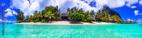 Stunning tropical beach scenery. Paradise island Mauritius, panoramic view of Le Morne beach
