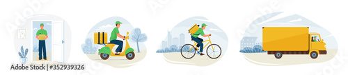 Obraz Delivery service vector illustration. Fast online deliver by courier man, bicycle, motorcycle and truck to work or home. Moving transport design in trendy flat style isolated on white background - fototapety do salonu