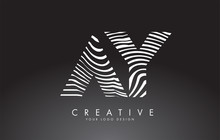 AY A Y Letters Logo Design With Fingerprint, Black And White Wood Or Zebra Texture On A Black Background.