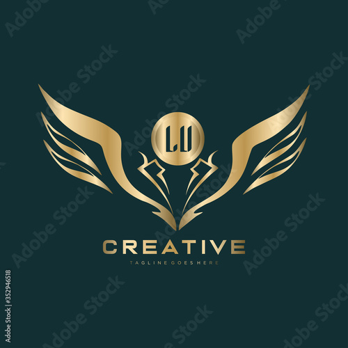 LU  Letter Initial with Royal Luxury Logo Template. Fototapete