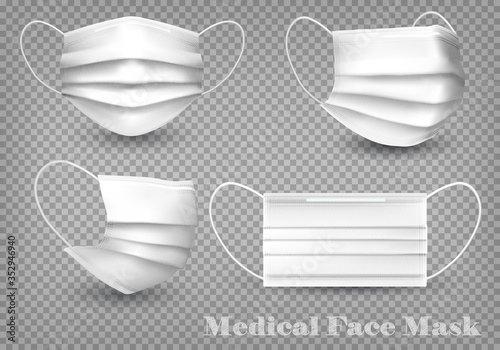 Obraz Collection of a white medical face masks isolated on transparent background. To protect from infection and coronavirus Covid -19. Realistic Vector Illustration. - fototapety do salonu