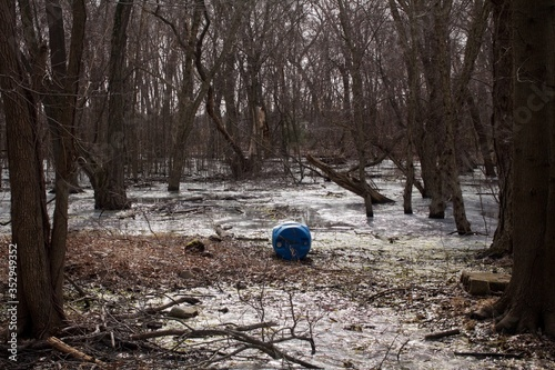 Evidence of illegal dumping adjacent the Neshaminy Creek in Bucks County, Pennsylvania, a wetlands restoration project now threatened by industrial pollution Canvas Print