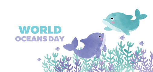 Panel Szklany Delfin world oceans day banner with cute dolphin in paper cut style.