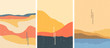 Vector illustration landscape. Japanese wave pattern. Mountain background. Asian style. Sunset scene. Sea backdrop. Design for poster, book cover, web template, brochure. Old paper with scratches