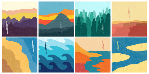 Vector illustration landscape. Wood surface texture. Japanese wave pattern. Mountain background. Asian style. Sunset scene. Design for social media wallpaper, blog post template, card, poster