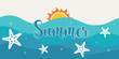 Summer holiday background with blue waves. Beach illustration.