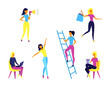 Concept Of Self Employed People. Female Characters Do Shopping, Give Presents, Work And Having Fun. Set Of Girls In Different Situations And Period Of Time. Cartoon Flat Style. Vector Illustration