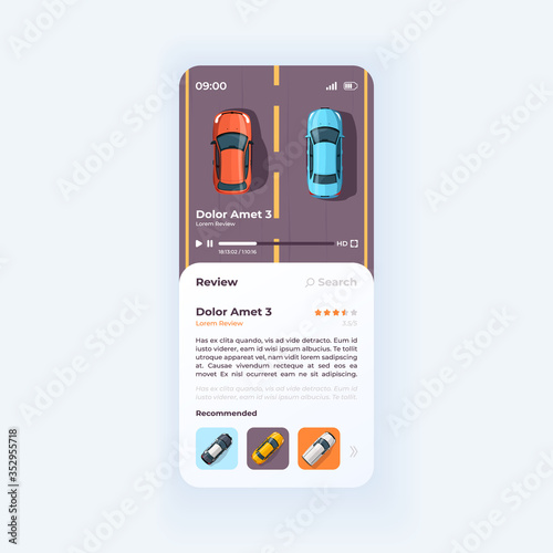 Obraz Auto review smartphone interface vector template. Automobile news mobile app page light design layout. Transport preview, presentation screen. Flat UI for application. Cars on phone display - fototapety do salonu