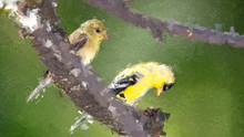 Impressionistic Style Artwork Of A Pair Of American Goldfinch Perched In A Tree