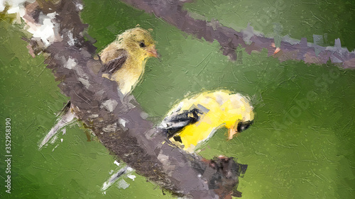 Fototapeta Impressionistic Style Artwork of a Pair of American Goldfinch Perched in a Tree