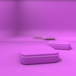 canvas print picture - Podium, stage, pedestal. Trendy background with stand for product presentation. Minimalistic concept. Abstract blank layout in purple hues. 3D rendering