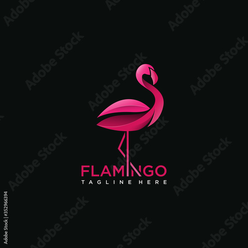 Photo Flamingo bird logo concept