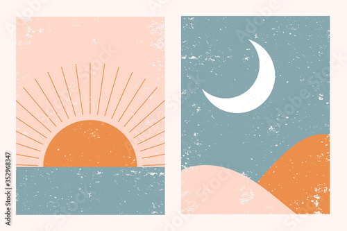 Photo Abstract contemporary aesthetic background landscape set with Sun, Moon, sea, mountains