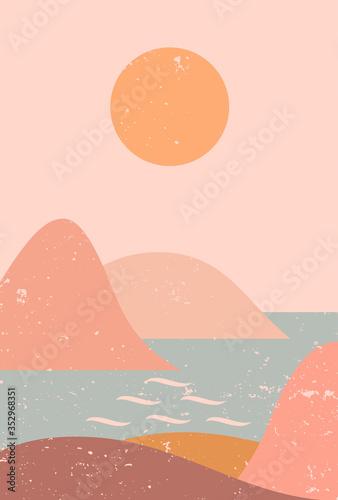 Fotografija Abstract contemporary aesthetic background with seascape, mountains, Sun, sea