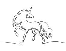 One Line Drawing Unicorn Vector Illustration