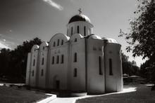 Boris And Gleb Cathedral Or Borisoglebsky Cathedral. Famous Architectural Monument Of The Pre-Mongol Period. Chernihiv City. Film Grain.