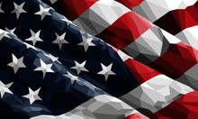United States Of America Flag Illustrated In Polygonal Style. This Close-up, Cropped Vector Image Has Movement And Depth With Shading.