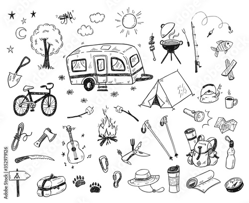 Fotografering Hand drawn doodle camping vector elements, icons set with bonfire, adventure, hi