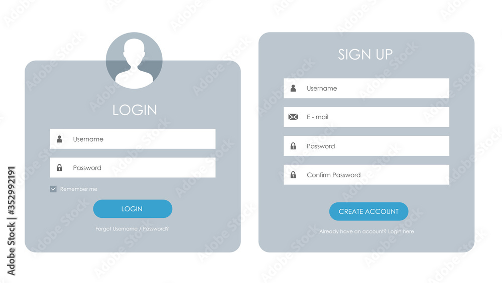 Fototapeta Registration form and login form page. Vector template for your design. Website ui concept.