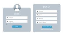 Registration Form And Login Form Page. Vector Template For Your Design. Website Ui Concept.
