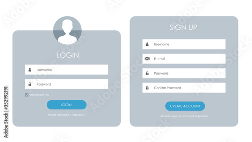 Registration form and login form page. Vector template for your design. Website ui concept. - fototapety na wymiar