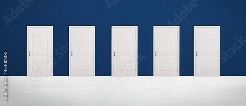 Fototapeta Many closed doors in room. Concept of choice obraz