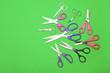 Leinwandbild Motiv Scissors for paper on color background