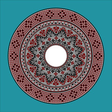 Vector Drawing - A Round Frame With A Complex Traditional Slavic Pattern In Red, Black And White Colors. It Can Be Used, For Example, As An Ornament For A Plate.