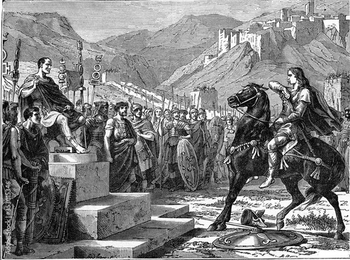 Vercingetorix in cesar court. vintage illustration. Billede på lærred