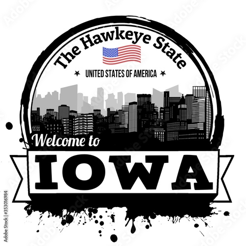 Illustration of a Welcome to Iowa stamp isolated on a white background Wallpaper Mural