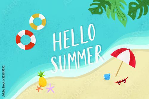 Fototapeta Hello summer on the beach vector obraz