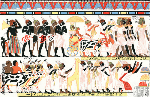Ethiopian and Egyptian types on a mural in a burial chamber in Thebes, vintage illustration Fototapete