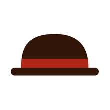 Bowler Hat Icon On White Backg...