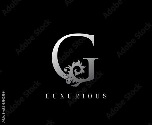 G Letter Floral logo. Vintage silver majestic letter stamp for book design, weeding card, label, business card, Restaurant, Boutique, Hotel. Fotomurales