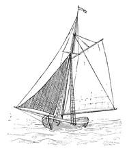 Jib Sail, Vintage Illustration.