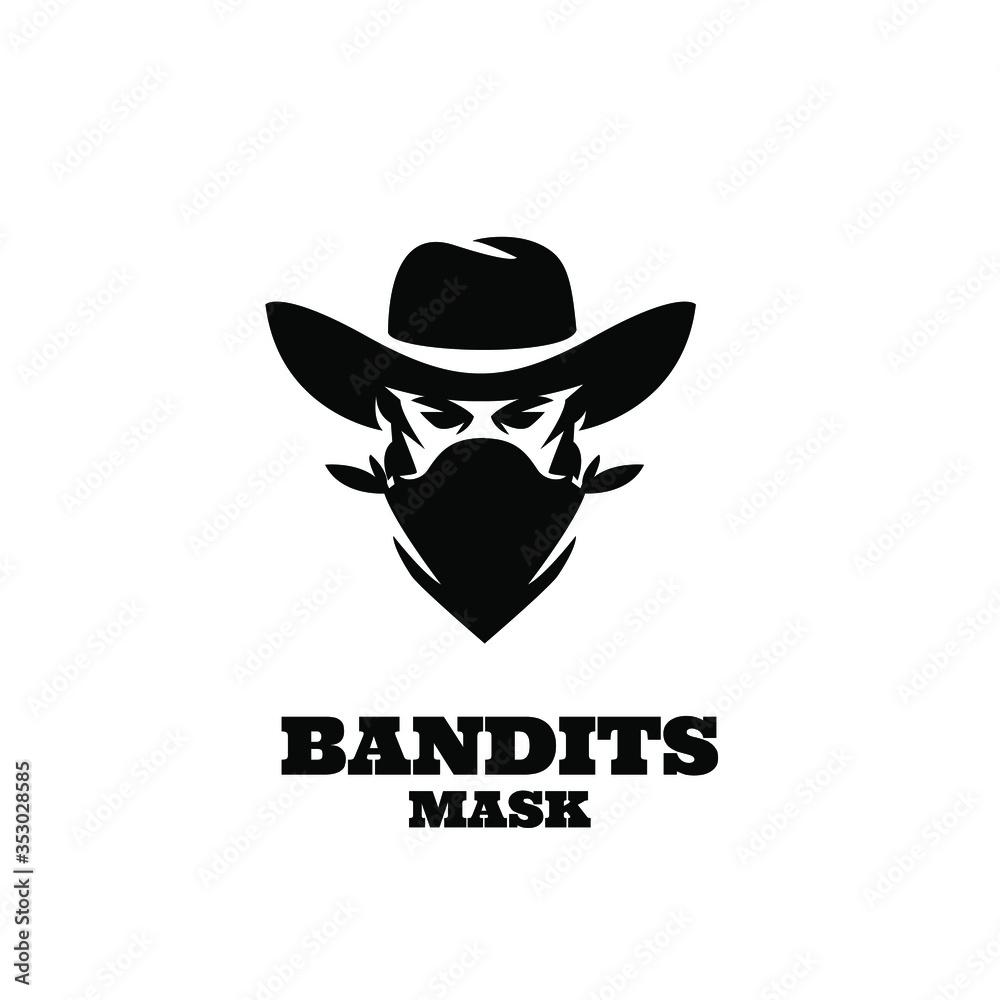 Fototapeta american Western Bandit Wild West Cowboy Gangster with Bandana Scarf Mask Logo illustration