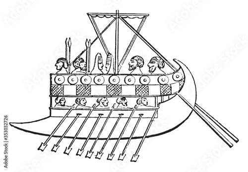 Fotografija Phoenician galley, vintage illustration.