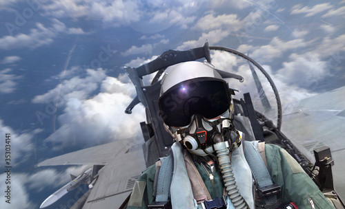 Fotografía Jet fighter pilot flying over cloudy sky with motion blur