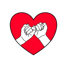 Black Outline Two Hands Are Contract Pinkie Together In The Red Heart Shape. Business, Love, Bonding, Relationship, Promises, Holiday, Encouragement Concept.