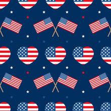USA Flags And Hearts Vector Se...