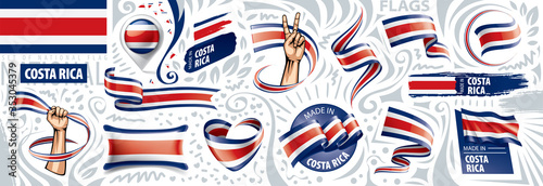 Vector set of the national flag of Costa Rica in various creative designs Wallpaper Mural