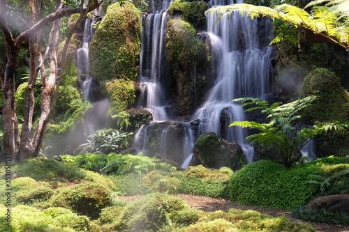 small waterfall in the forest Billede på lærred