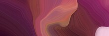 Horizontal Background Banner With Old Mauve, Indian Red And Thistle Color. Modern Curvy Waves Background Illustration