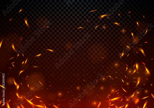 Tablou Canvas Vector Illustration Fire Sparks On Transparent Background.