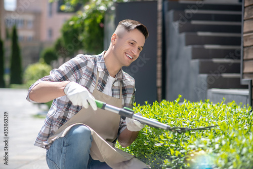 Fotografia, Obraz Delighted dark-haired male in protective gloves pruning bushes outside, crouchin