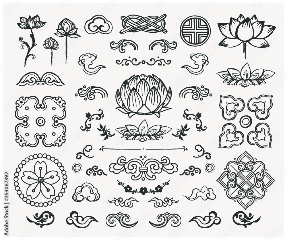 Fototapeta Set of hand drawn oriental elements. Black mandalas and lotus. Asian traditional design.