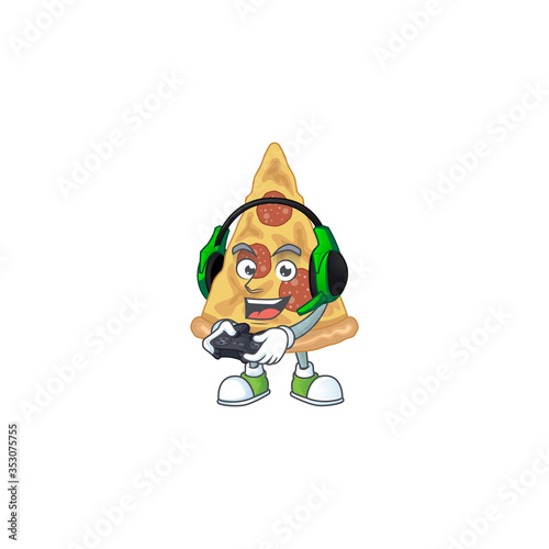 Obraz A cartoon design of slice of pizza clever gamer play wearing headphone - fototapety do salonu
