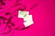 Leinwandbild Motiv Mock-up on pink background. Businesscards with copy space