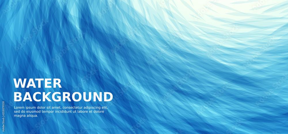 Fototapeta Abstract blue sea wavy background
